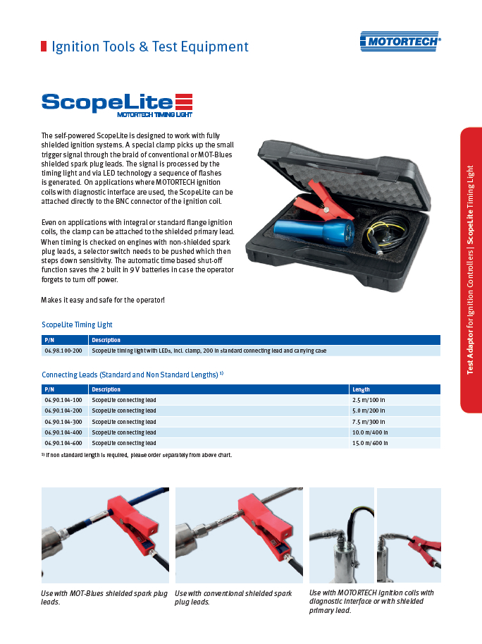 ScopeLite Timing Light - The ScopeLite timing light is self-powered and designed to work with either shielded or unshielded ignition systems.